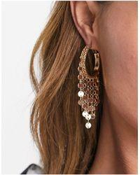 ASOS 25mm Hoop Earrings With Disc Chains - Metallic