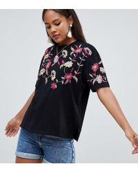 ASOS - T-shirt With Embroidered Yoke - Lyst