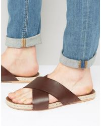 ASOS - Cross Over Sandals In Tan Leather With Jute Espadrille Sole - Lyst