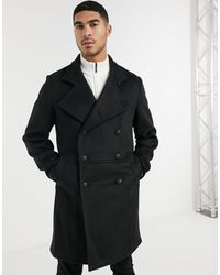 ASOS Wool Mix Double Breasted Overcoat With Military Detail - Black