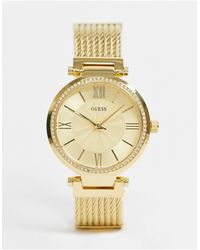 Guess – e Armbanduhr mit schwarzem Zifferblatt