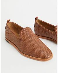 H by Hudson Светло-коричневые Плетеные Кожаные Лоферы Ipanema-коричневый Цвет