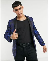 Twisted Tailor Veste de costume à imprimé floral jaquard - Bleu marine