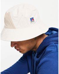 BOSS by Hugo Boss X Russell Athletic - Falk - Cappello da pescatore con logo color pietra - Blu