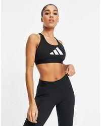 adidas Originals Adidas Training 3 Bar Logo Racer Back Medium Support Sports Bra - Black