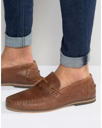 ASOS - Tassel Loafers In Tan Leather With Fringe And Natural Sole - Lyst