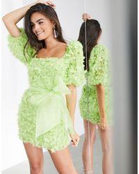 ASOS Платье Мини С Цветочным 3d-принтом Из Органзы -зеленый Цвет