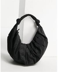 Mango Recycled Polyester Ruched Croissant Shoulder - Black