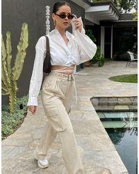 In The Style X Naomi Genes - Pantaloni cargo a fondo ampio color pietra - Multicolore