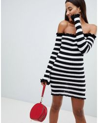 AX Paris - Bardot Striped Jersey Dress - Lyst