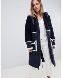 Urbancode Longline Parka Coat With Contrast Borg Trim - Blue
