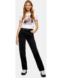 TOPSHOP - Dad jeans nero slavato - Lyst