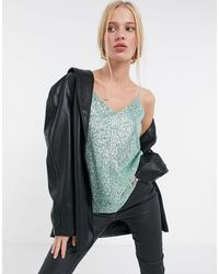 River Island Sequin Cami Top - Green