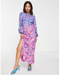 Closet Robe longueur mollet froncée à motif pois contrastants mélangés - Multicolore