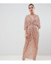 c9d14b10ee942 ASOS - Asos Design Petite Scatter Sequin Knot Front Kimono Maxi Dress - Lyst