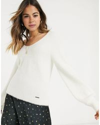 Abercrombie & Fitch Eyelash Knit Slim V-neck Sweater - Natural