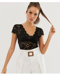 Stradivarius All-over Lace T-shirt In Black