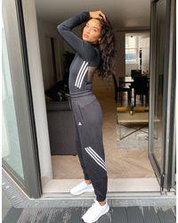 adidas Originals Adidas Training 3 Stripe Oversized joggers - Black