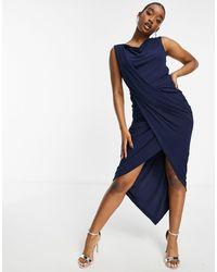 AX Paris Drape Midi Dress - Blue