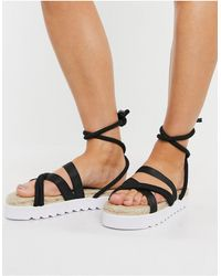 Truffle Collection Chunky Tie Leg Espadrille Sandals - Black