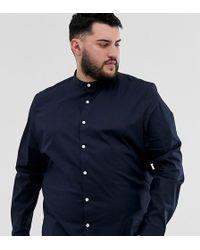 ASOS Plus - Regular- Fit Overhemd Zonder Kraag In Marineblauw