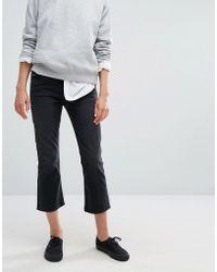Weekday Cut Mid Rise Kick Flare Crop Jeans - Black