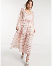 Sister Jane - Розовое Платье Макси С Квадратным Вырезом И Ярусными Оборками -розовый - Lyst