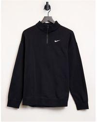 Nike - Черный Oversize-свитшот С Короткой Молнией Длиной 1/4 И Маленьким Логотипом-галочкой -черный Цвет - Lyst