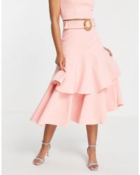 Forever New Wicker Belt Tiered Midaxi Skirt Co-ord - Pink