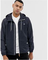 Esprit Lightweight Hooded Jacket In Navy Colour Block - Blue