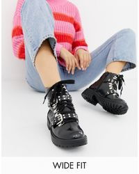 Truffle Collection Wide Fit Chunky Ankle Boots - Black