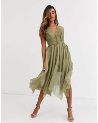 ASOS Ruched Bodice Soft Cami Midi Dress With Raw Edge Detail-green
