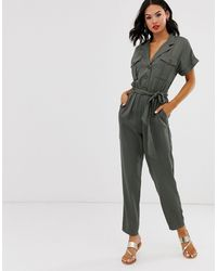 Oasis Utility Jumpsuit With Belt - Green