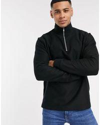 TOPMAN – Twill-Sweatshirt mit halblangem Reißverschluss - Schwarz