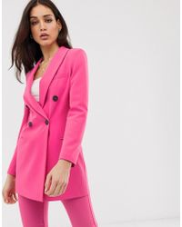 3b2425c1 Balmain Hot Pink Basketweave Textured Double Breasted Blazer S in ...