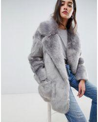 Glamorous Faux Fur Coat - Grey