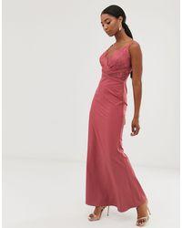 Little Mistress Lace Top Fishtail Maxi Dress - Pink
