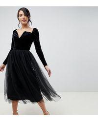 ASOS - Asos Design Tall Velvet Tulle Midi Dress - Lyst