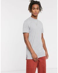 ASOS Longline T-shirt With Crew Neck And Side Splits - Grey