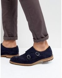 Dune   Monk Shoes In Navy Suede   Lyst