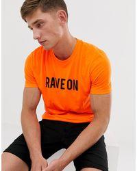 Brave Soul Slogan Neon T-shirt - Orange