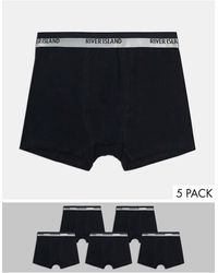 River Island 5 Pack Trunks With Silver Waistband - Black