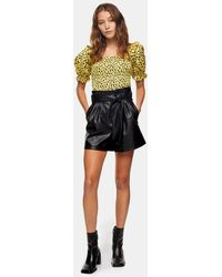 TOPSHOP - Faux Leather Tie Waist Shorts - Lyst