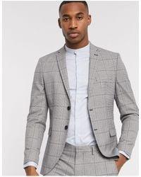 SELECTED – Schmal geschnittenes, graues Stretch-Anzugjacket