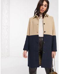 Ichi Manteau long à empiècements - Camel et bleu marine