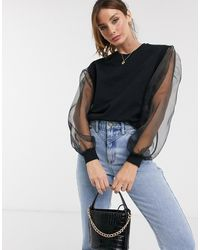 ASOS Oversized Sweatshirt With Organza Sleeves - Black