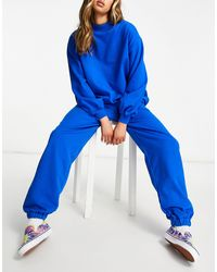 ASOS Lounge Co-ord Oversized jogger With Contrast Ties - Blue