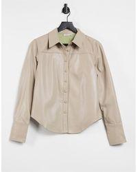 s t e e l e. Torri Vegan Leather Button Up Shirt - Natural