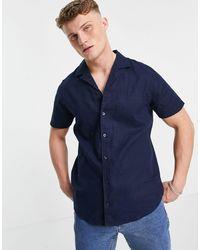 Threadbare Short-sleeved Linen-mix Shirt - Blue