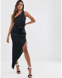 ASOS One Shoulder Drape Midi Dress - Black